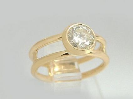 Brillant Solitär Ring 1, 11 ct. - Brillantring Gold 750 Goldring 18kt - Damenring