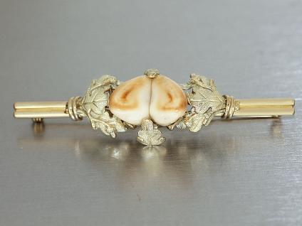Brosche Gold 585 mit 2 Grandln (Hirschzähne) Trachtenbrosche in 14 kt Gold