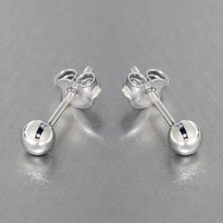 4 mm Kugel Ohrstecker Silber 925 rhodiniert - 1 Paar Silberohrstecker - Ohrringe
