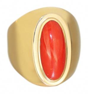 Großartiger Goldring 585 mit Koralle Ring Gelbgold Damenring Korallenring RW 61