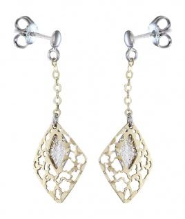 Lange bewegliche Ohrstecker Gold 585 Ohrhänger Ohrringe bicolor Goldohrringe