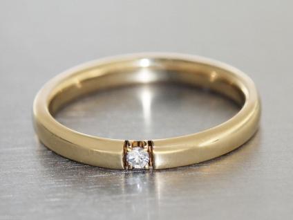Ring Gold 585 Solitärring in 14 kt Gold (585/000) mit 1 Brillant