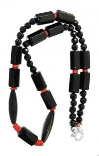 Onyx Collier mit Koralle Verschluss Silber 925 Halskette 68 cm lang rot schwarz