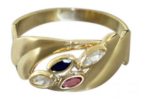 Goldring 585 - Ring 14 kt Gold mit Rubin Saphir und Zirkonia - Damenring Gold