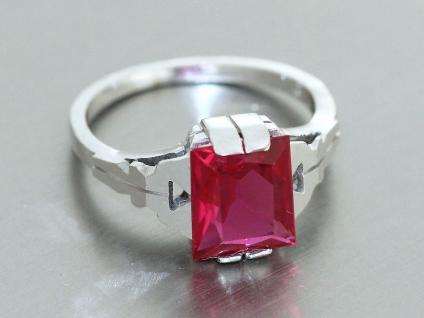 Ring Silber 800 Ring in Silber (800) mit 1 Schmuckstein in rot Silberring