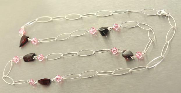Silberkette 925 mit Bernstein u. rosa Zirkonias Collier Silber Kette 72 cm lang