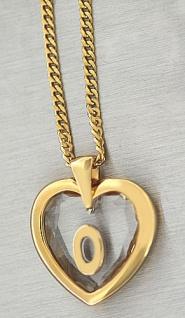 Buchstabe O - Goldkette pl und Anhänger Herz - Kristallherz Panzerkette Gold pl