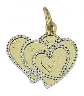 Anhänger Herz Gold 585 - Goldanhänger mit Herzen - Goldherz 14 kt - Doppelherz