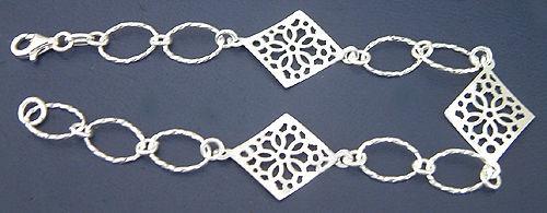 Silberarmband 925 - florales Design - Armband echt Silber Armkette große Glieder
