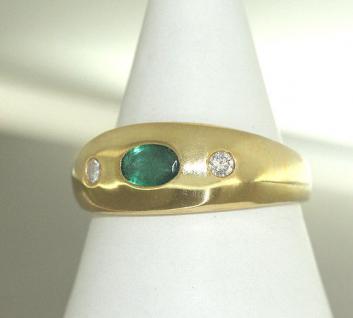 Klassischer Goldring 585 Allianzring Gold 585 mit Smaragd und Brillanten 0, 15 ct