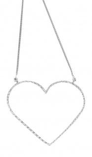 Silberkette 925 mit Herz groß od. klein Collier Halskette Kette echt Silber