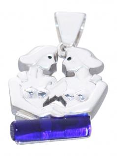 Sternzeichen Zwilling Silber 925 Anhänger Tierkreiszeichen mit Schmuckstein blau