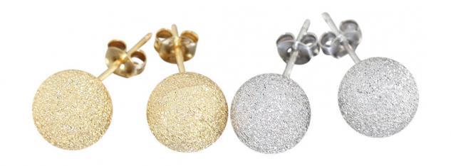 10 mm Kugel Ohrstecker Silber 925 diamantiert rhodiniert Gold oder Rotgold pl