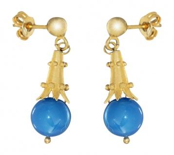 Ohrhänger Silber 925 Ohrstecker vergoldet mit Achat blau Ohrschmuck Damen
