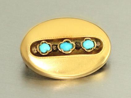 Antike Brosche Gold 585 mit Türkisen - Goldbrosche um 1900 - kleine Brosche 14kt