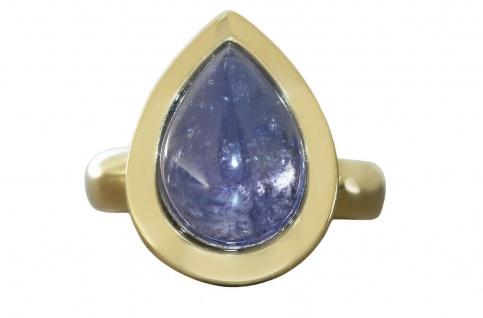 Massiver Solitärring Ring Gold 585 mit Tansanit Damenring Goldring Solitär
