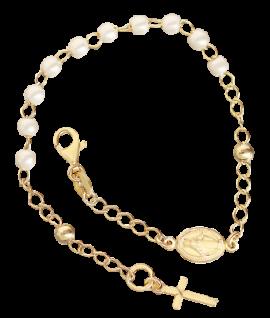Rosenkranz Armband Silber 925 vergoldet Perlen weiß Kreuz Maria Pater Pio