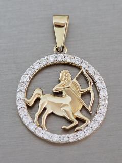 Sternzeichen Gold 585 - Anhänger mit Zirkonias - Goldanhänger Sternzeichen 14 kt