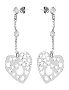 Große Herzen Ohrhänger Silber 925 Ohrschmuck Ohrstecker Ohrringe - Herz