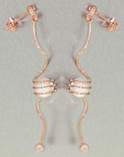 Lange Designer Ohrhänger Silber 925 Rotgold mit Perle und Zirkonia Ohrstecker