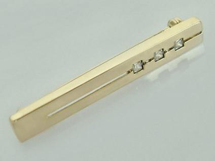 Moderne Brosche Gold 585 mit Zirkonia Carree Goldbrosche Designerbrosche