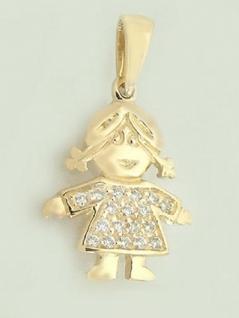 Anhänger - kleine Puppe Gold 585 mit Zirkonias - Goldanhänger 14 kt Püppchen