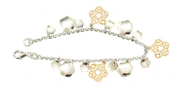 Armband Silber 925 Bettelarmband bicolor Silberarmband mit Anhänger Gold pl
