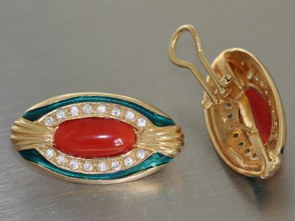Ohrclips Gold 750 Koralle Email Ohrschmuck 18 Karat Ohrringe Ohrstecker