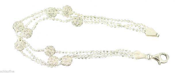 3-reihiges Armband Silber 925 - Kugelarmband - trendy Silberarmband Armkette 925