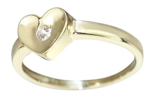 Goldring 585 mit Herz und funkelndem Zirkonia - massiver Ring Gold 14 kt - Damen
