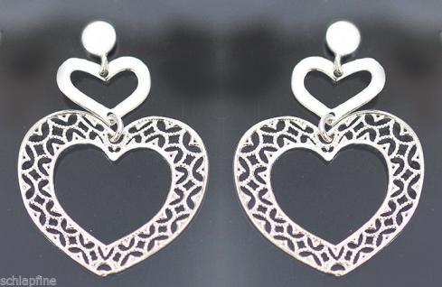 Herz Ohrstecker Silber 925 - Ohrhänger - große Herzen - Ohrschmuck - Ohrringe