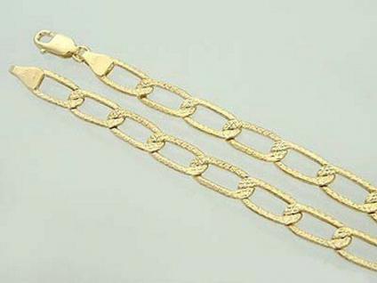 Goldarmband 585 - große Glieder gemustert Armband Gold 14 Karat 21 cm Armkette