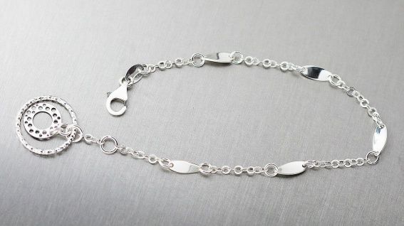 Armband Silber 925 mit Anhänger trendige Armkette Karabiner Damen Armschmuck
