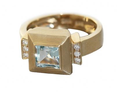 Goldring 585 mit Blautopas Carree 6 Brillanten Ring Gold 6 gr Brillantring 14 Kt