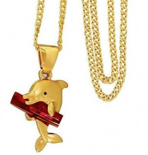 Anhänger Delfin Gold pl mit rotem Stein Goldkette und Anhänger pl Panzerkette