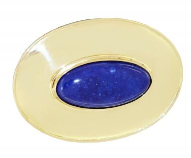 Große ovale Brosche Gold 750 mit Lapislazuli Goldbrosche 18 kt von Ascione