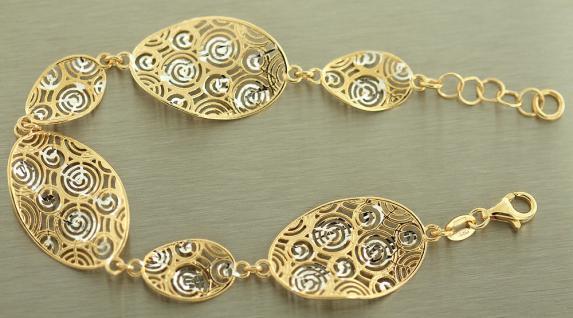 Breites Armband Silber 925 vergoldet - Silberarmband massiv - Armband Gold Kette - Vorschau 2