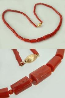 Lange Korallenkette echte Koralle Korallencollier Halskette - Schließe Gold 750