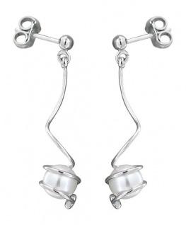 Ohrhänger Silber 925 mit Perle und Zirkonia Ohrstecker Perlenohrstecker Silber