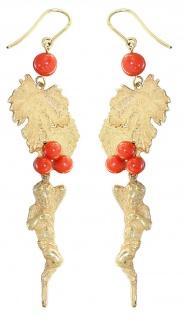 Langer Ohrschmuck Gold 750 Korallen Weinblatt Engel 18 Kt. Ohrhänger 15, 5 gr