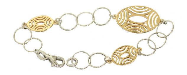 Designerarmband 925 - Silberarmband bicolor Armband Gold Silber Armkette