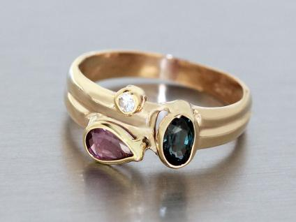 Edler Goldring 585 Multicolor Rubin Saphir Zirkonia Ring Gold Damenring