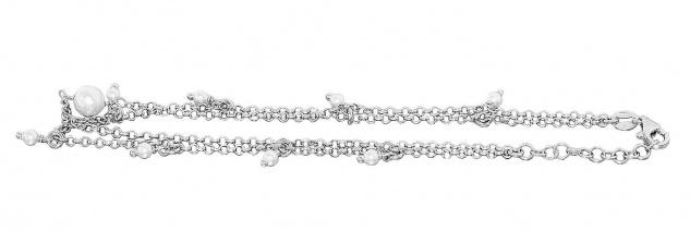 Fußkette Silber 925 Perlen weiß Fußkettchen 2-reihig Karabiner Erbskette