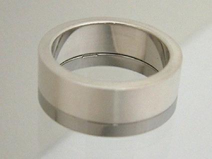 Designer Ring Silber Silber 925 und Edelstahl Bandring massiver Silberring