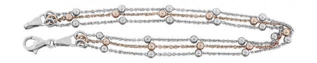3-reihige Halskette Armband Silber 925 bicolor Rotgold Kugelkette Silberkette
