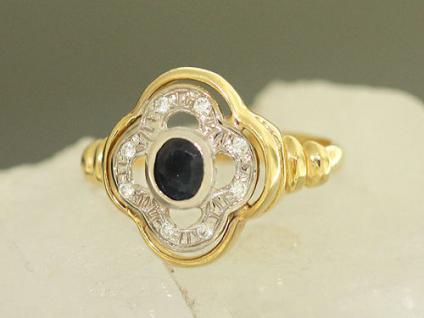 Klassischer Ring mit Saphir und Zirkonia - Goldring 585 - Damenring - Ring Gold