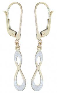Infinity Ohrhänger Gold 585 Ohrringe bicolor Ohrschmuck Damen Brisuren 14 Karat