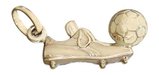 Anhänger Gold 585 / 14 Kt. Fußballschuh mit Ball Goldanhänger Kettenanhänger