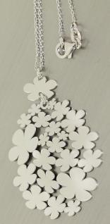 Blickfang Kette und großer Blumen Anhänger Silber 925 Silberkette Collier