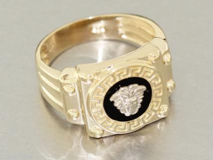 Massiver Goldring 585 mit Mäander Muster - schwerer Ring Gold 14 kt - RW 60